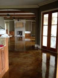 Interior acid stained flooring traditional-kitchen