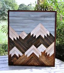 reclaimed wood art salvaged wood decor wood wall art mountain scene art
