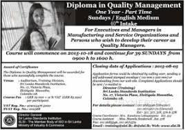 diploma in quality management one year part time sundays  diploma in quality management one year part time sundays english medium by slsi