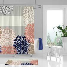 shower curtain and bathroom rug with fl and striped design blue pink gray bath curtain dahlia bathroom decor bathroom curtain