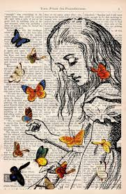book print alice in wonderland playing with erflies by prrint
