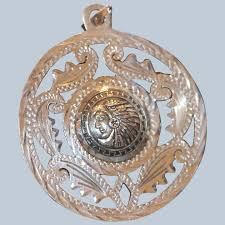 aztec style sterling etched pendant 2