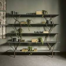 albero minimal design bookcase in mother of pearl wood and champagne metal