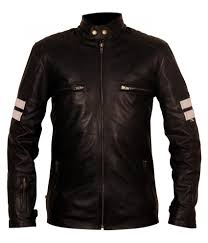 Designer Leather Biker Jackets Mens Mayhem Biker White Striped Driver San Francisco Black Leather Motorcycle Jacket Experienced In Oufit That Fits You