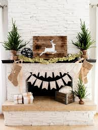 Decorations  Fireplace Mantel Decorations With Rectangle Frame Christmas Fireplace Mantel