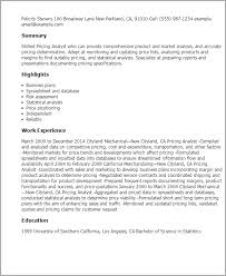 Resume Templates: Pricing Analyst