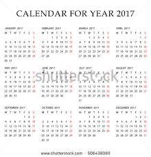Simple 2017 Calendar Week Starts Monday Stock Vector 506438089