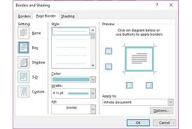 a screenshot of the borders and shading dialog box in microsoft word 2016