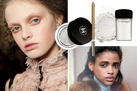 on the fall runways models wore powdery victorian lashes at alexander mcqueen left and milky lids at marni right s from left for a subtle glow