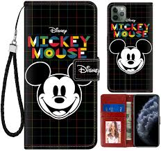 Amazon.com: DISNEY COLLECTION iPhone 11 Pro Max Case Wallet Case Mickey  Mouse Color Stripes Design Magnetic Closure [Stand Feature] Folio Flip Cover  with Card Holder and Wrist Strap Protective Shell