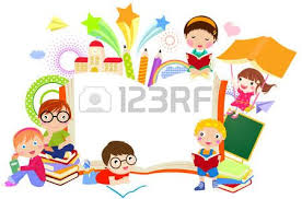 kids reading books cartoon kids and book frame