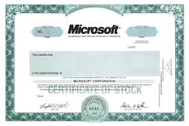 Microsoft Corporate Bonds Shareholder Certificate Template Stock Stocks And Bonds Stocks