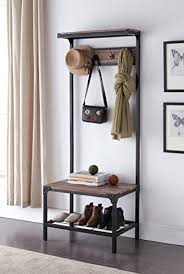 Entryway Shoe Bench With Coat Rack Awesome EHomeProducts Reclaimed Oak Industrial Look Entryway Shoe Bench With
