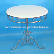 china round coffee table silver metal legs white mdf table top bistro table