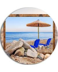 framed beach with chairs umbrella seashore round metal wall art 11  on beach umbrella metal wall art with hello summer 52 off framed beach with chairs umbrella seashore