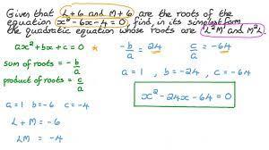 forming a quadratic equation