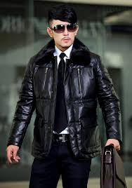 sheepskin mens leather fur coats