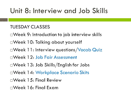 Week 9 Job Interview Skills Ppt Video Online Download