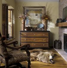 rustic living room decor with light brown faux bear skin fur rug combined with brown wooden