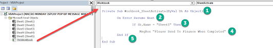 Write A Vba Macro To Display A Pop Up Message When A Specific Sheet
