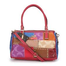 Coach Holiday Matching Stud Medium Red Multi Luggage Bags ECC