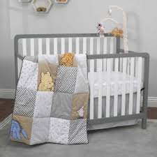classic pooh 3 piece taupe grey and snow crib bedding set disney baby