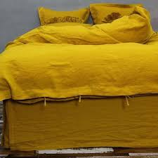 mustard yellow duvet cover king crushed linen