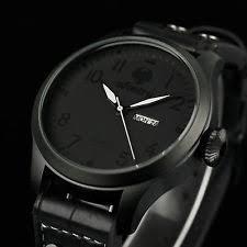 watches infantry mens quartz wrist watch analog date day army sport black leather luxury