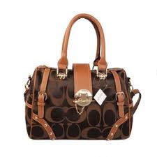 Coach Lock In Monogram Medium Coffee Luggage Bags BZA