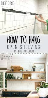 how to hang tile on wall install open shelves in your kitchen with this easy tutorial how to hang tile on wall