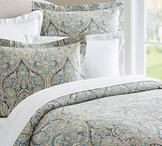blue mackenna paisley percale patterned duvet cover sham pottery barn