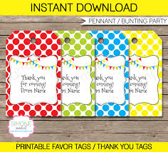 Birthday Tags Template Pennant Birthday Party Favor Tags Thank You Tags