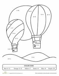 081f490190c028b4085c3dca96762701 number worksheets basic math color by sum the great balloon race colors, first grade math on basic math operations worksheet