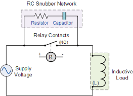 electrical relay and solid state relays for switching electrical relay snubber circuit