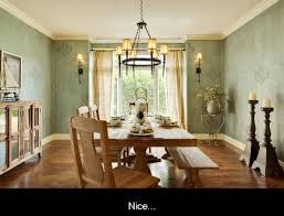 trendy chandelier is the right size and hung at correct distance from decor at the dining