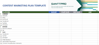 Marketing Plan Gantt Chart Template Content Marketing Plan Template Free Download Excel Template