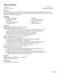 Quality Control Manager Resume Sample Management Construction