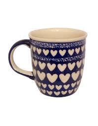 Pantone 2020 unique coffee mugs white coffee dalmatian tea mugs coffee cups blue and white navy blue classic. Polish Pottery Mug Blue With White Hearts 3 X 4 European Splendor