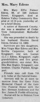 Obituary for Mary Effie Palmer Edens (Aged 88) - Newspapers.com