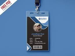 Id Card Templates Free Multipurpose Dark Office Id Card Free Psd Template