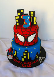Two Tier Spiderman Themed Birthday Cake Willi Probst Bakery Kids