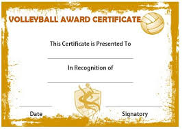 volleyball certificate template volleyball award certificate volleyball certificates free