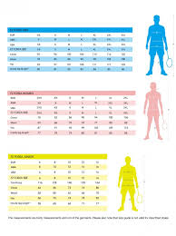 Forza Apparel Size Chart My Badminton Store