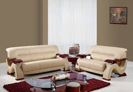 Leather Living Room Set Leather 3pc Modern Living Room Set W Mahogany Arms