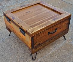 ... Coffee Table, Inspiring Brown Square Rustic Wood And Iron Leg Wine Crate  Coffee Table With