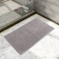 lifewit non slip 20 x32 microfiber chenille bath mat bathroom shower rug grey