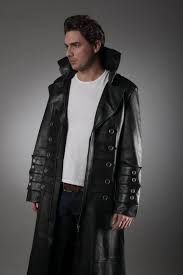 men s military leather trench coat in black
