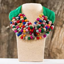green collar neckpiece multicolored fabrics