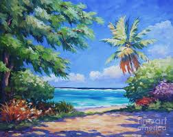 puerto rico painting secret beach by john clark