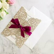 Details About 50pc Champagne Glitter Wedding Invitations With Ribbon Quinceanera Invitation